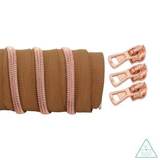 K-Bas Coil zipper Dark cognac - Rose gold 100cm