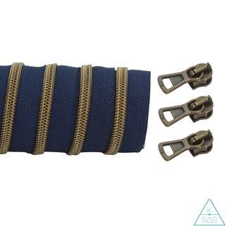 K-Bas Coil zipper Dark blue - Matt Anti-Brass 100cm
