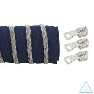 K-Bas Coil zipper Dark blue - Matt Silver 100cm
