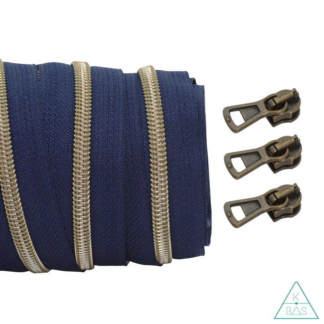 Coil zipper Dark blue - Shiny Anti-Brass 100cm