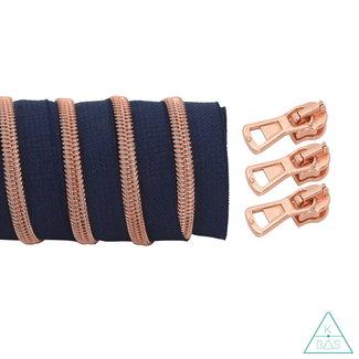 K-Bas Coil zipper Dark blue - Rose gold 100cm