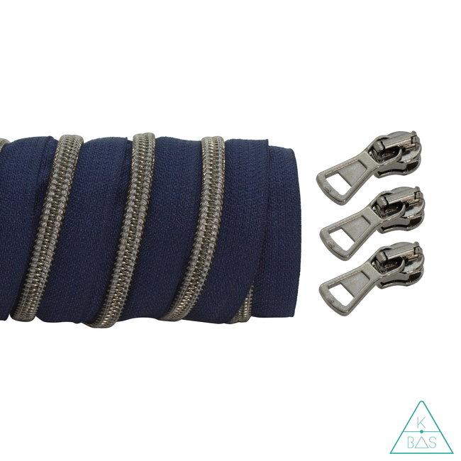 K-Bas Spiraalrits Donkerblauw - Zwart nikkel 100cm