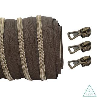 Coil zipper Dark brown - Shiny Anti-Brass 100cm