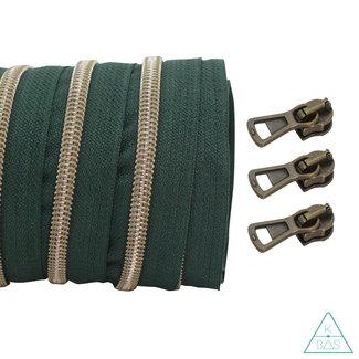 Coil zipper Dark green - Shiny Anti-Brass 100cm