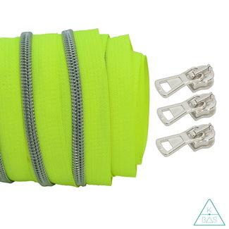 Coil zipper Fluo yellow - Matt Silver 100cm