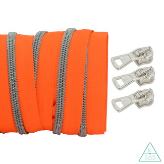 Coil zipper Fluo orange - Matt Silver 100cm