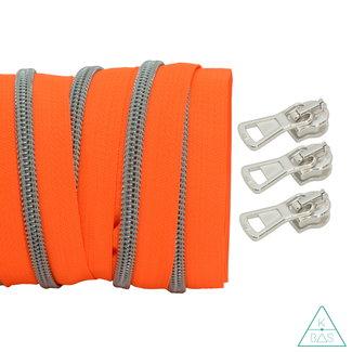 Spiraalrits Fluo oranje - Mat zilver 100cm