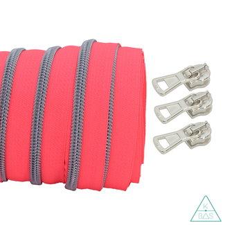 Coil zipper Fluo pink - Matt Silver 100cm