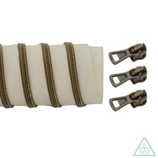 K-Bas Coil zipper Off white - Matt Anti-Brass 100cm