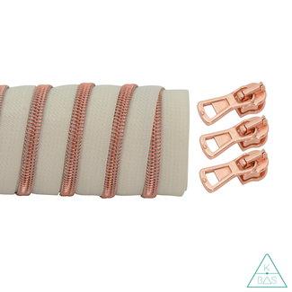 K-Bas Coil zipper Off white - Rose gold 100cm