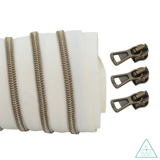 Coil zipper Off white - Shiny Anti-Brass 100cm