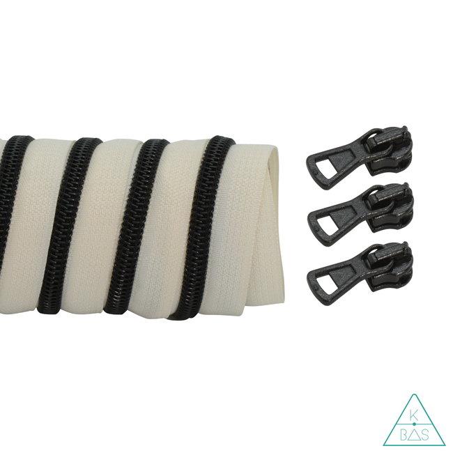 K-Bas Coil zipper Off white - Black 100cm