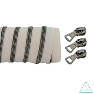 K-Bas Coil zipper Off white - Black nickel 100cm