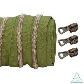 Coil zipper Army green - Shiny Anti-Brass 100cm