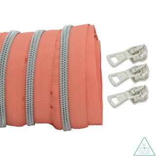 Coil zipper Coral - Matt Silver 100cm