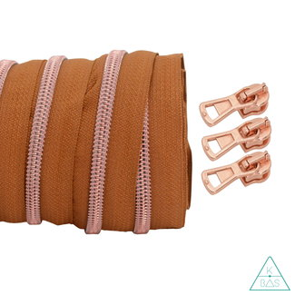 Coil zipper Light cognac - Rose gold 100cm