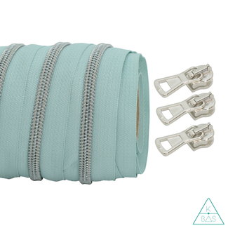 Coil zipper Light mint - Matt Silver 100cm