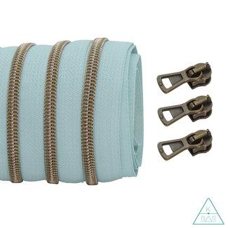 Coil zipper Light mint - Shiny Anti-Brass 100cm