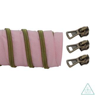 K-Bas Coil zipper Light pink - Matt Anti-Brass 100cm