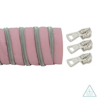 K-Bas Coil zipper Light pink - Matt Silver 100cm