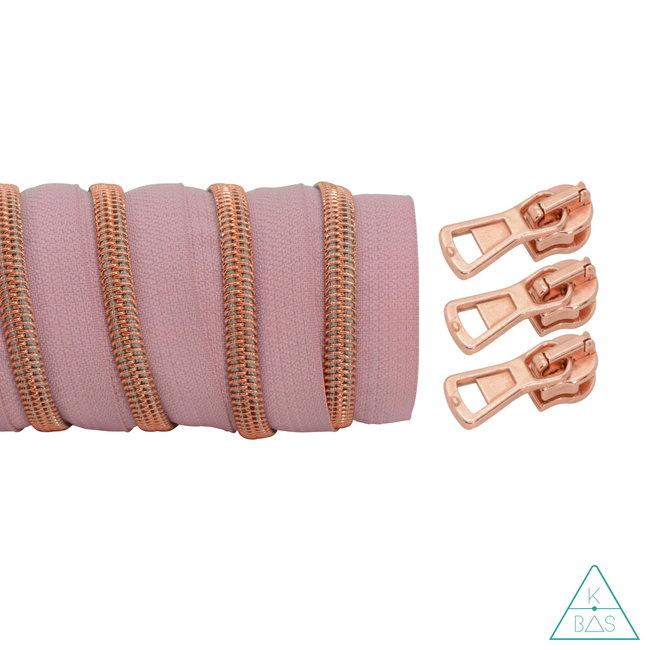 K-Bas Coil zipper Light pink - Rose gold 100cm