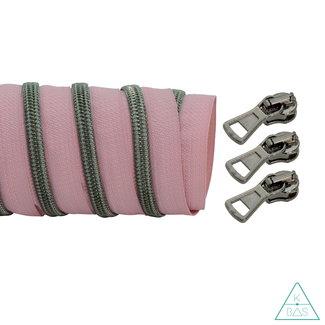 K-Bas Coil zipper Light pink - Black nickel 100cm