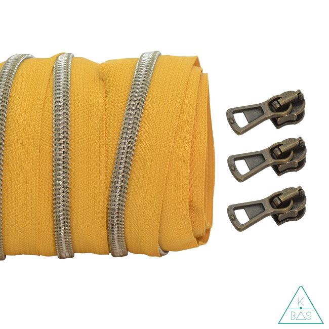 Coil zipper Ochre - Shiny Anti-Brass 100cm