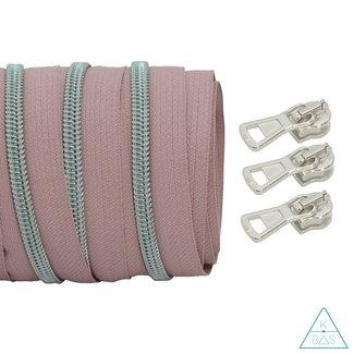 Coil zipper Dusty pink - Matt Silver 100cm