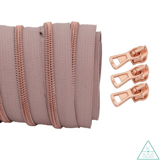 Coil zipper Dusty pink - Rose gold 100cm