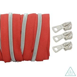 Coil zipper Red - Matt Silver 100cm