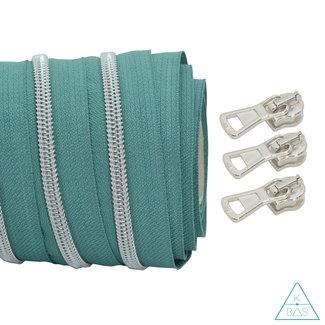 Coil zipper Teal - Matt Silver 100cm