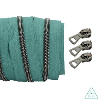 Coil zipper Teal - Black nickel 100cm