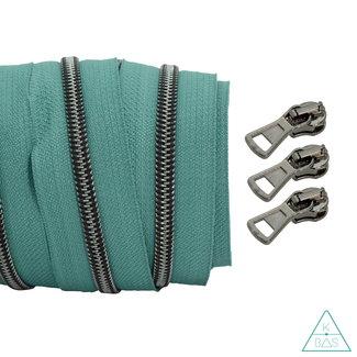 Spiraalrits Teal - Zwart nikkel 100cm
