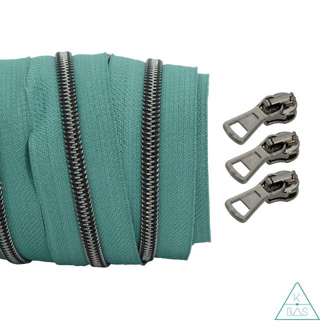 Coil zipper Teal - Black nickel 100cm