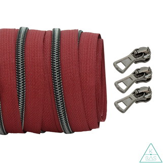 Coil zipper Wine red - Black nickel 100cm