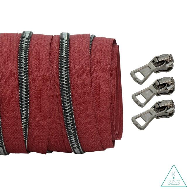 Coil zipper Wine red - Black nickel 100cm