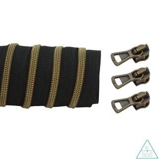K-Bas Coil zipper Black -  Matt Anti-Brass 100cm