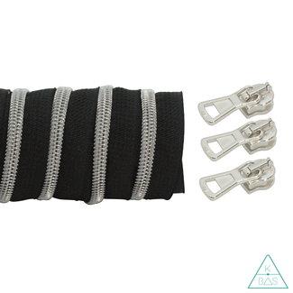 K-Bas Coil zipper Black - Matt Silver 100cm