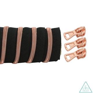 K-Bas Coil zipper Black - Rose gold 100cm