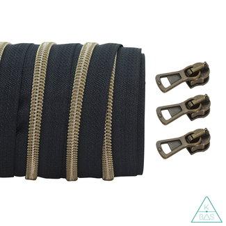 Coil zipper Black - Shiny Anti-Brass 100cm