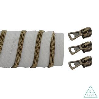K-Bas Coil zipper Light grey - Matt Anti-Brass 100cm