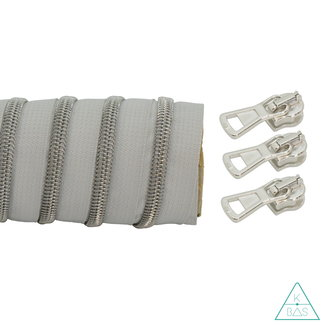 K-Bas Coil zipper Light grey - Matt Silver 100cm