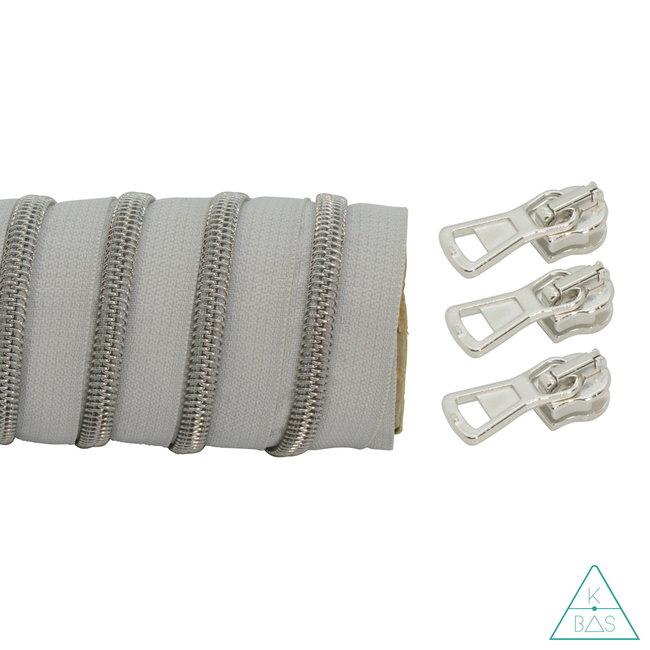 K-Bas Spiraalrits Lichtgrijs - Mat zilver 100cm