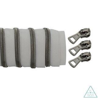 K-Bas Coil zipper Light grey - Black nickel 100cm