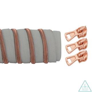K-Bas Coil zipper Light grey - Rose gold 100cm