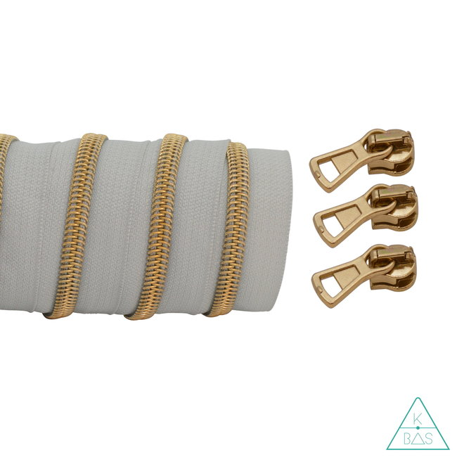 K-Bas Coil zipper Light grey - Matt Gold 100cm