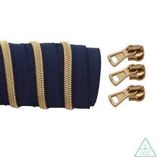 K-Bas Coil zipper Dark blue - Matt Gold 100cm