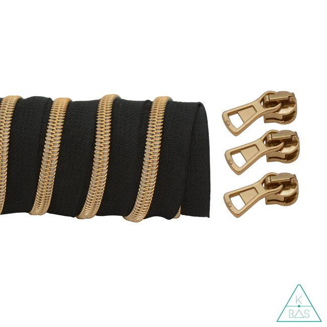 K-Bas Coil zipper Black - Matt Gold 100cm