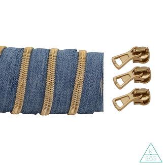 K-Bas Coil zipper Denim - Matt Gold 100cm