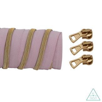 K-Bas Coil zipper Light pink - Matt Gold 100cm